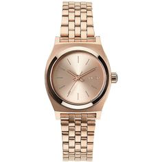 Nixon Nixon the Small Time Teller All Rose Gold a399-897 Watch ($105) ❤ liked on Polyvore featuring jewelry, watches, bracelets, rose gold, nixon jewelry, water resistant watches, nixon wrist watch, watch bracelet and rose gold wrist watch