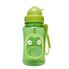 "Skip Hop Zoo Straw Bottle, Holds 12 oz, Cody Chameleon - A major milestone for toddler is when he or she is ready to move on from Sippy cups. The zoo straw bottle helps ease this transition by giving little ones a ""big-kid cup"" with the protection of a flip-top lid. Dishwasher-safe; also comes with an extra straw. Features signature zoo characters; str..."