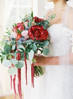 Romantic berry red bouquet: http://www.stylemepretty.com/2016/07/15/boho-style-winery-wedding/ | Photography: Michael And Carina Photography - http://michaelandcarina.com/