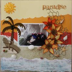 Love this scrapbook layout. Beautiful colors for a beach layout.