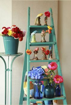 turquoise ladder and flowers