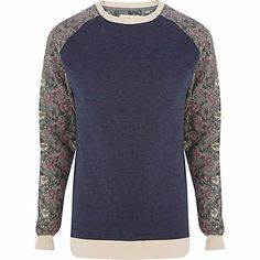 Blue marl floral sleeve sweatshirt - hoodies / sweatshirts - sale - men