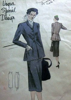 LOVELY VTG 1940s SUIT DRESS VOGUE SPECIAL DESIGN Sewing Pattern 14/32 VOGUE Special  Design sewing Pattern.  It is a pattern for a misses' suit dress in size 14, bust 32,  hip 35. This is genuine vintage from 1947- pattern number 4783 and the pattern is complete and cut with original instructions.sld 17.5+1.99 7bds 2/16/15