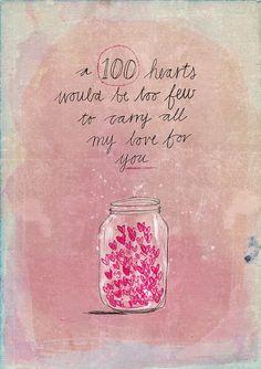 100 hearts archival art print - Small and Medium size