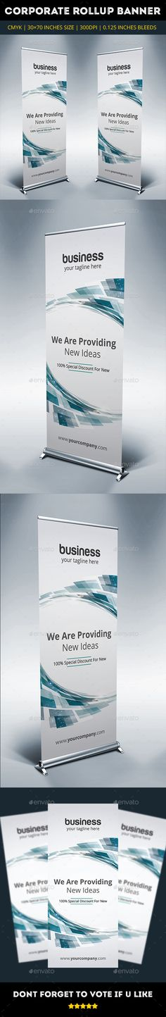 Blue Corporate Rollup Banner Template #design Download: http://graphicriver.net/item/blue-corporate-rollup-banner-vol7/10601130?ref=ksioks