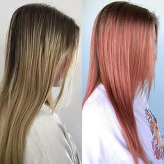 Stop. I am having a love affair with this color. This cute girl came in today wanting a dusty, rose gold, pinky color. Since her hair was already pretty light I started by applying @redken5thave a Shades Eq 9AA, 9RB & 9P throughout her mid lengths and ends and then balayaged a few areas with #pureenlightenment lightener to add dimension and vibrancy. Toned in the bowl with the same shades formula and then dried a section to see if it was bright enough for her. (Side note: the color at that…