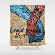 Holding Hands,Eternal Love,Space Dictionary Art Shower Curtain