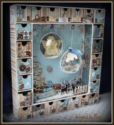 Un calendrier de l'Avent - shabby vintage - bleu brun beige doré - 3D