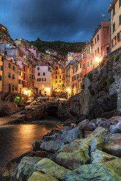"""Riomaggiore"" Fine Art Print, Cinque Terre, Liguria, Italy, Mediterranean Sea, Night, Fishing Village, Boats - Travel Photography, Print, Wall Art. Title: ""Riomaggiore"" - Taken in Riomaggiore, Cinque Terre, Italy. Medium: Archival grade print on professional quality photo papers."
