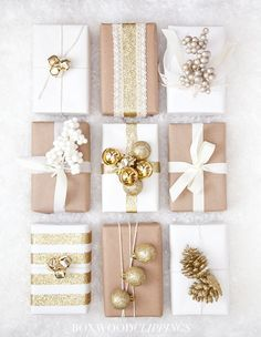gold gift wrapping inspiration