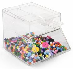 1 Gallon Acrylic Display Bin w/ Top Compartment - Clear