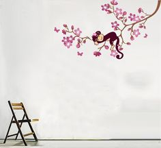 custom wall decals -  Monkey Hanging Over Tree Kids/nursery - Easy Wall Decor Sticker Wall Decal - Childrens Decorative Stickers