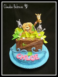 Cute zoo animal theme cake