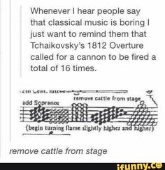 Whenever I hear people say that classical music is boring I just want to remind them that Tchaikovsky's 1812 Overture called for a cannon to be fired a total of 16 times. remove ca me from stage - iFunny :) Disney Cartoons, Classical Music Humor, Musician Jokes, Tumblr Funny, Funny Memes, Disneyland, Excuse Moi, Music Memes, Music Quotes