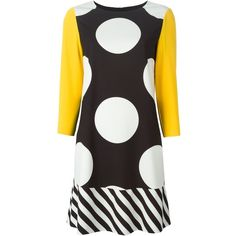 Boutique Moschino stripe and dot print dress ($620) ❤ liked on Polyvore