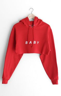 Baby Oversized Cropped Hoodie - Red