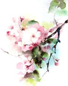 Cherry Blossoms Watercolor Painting Art Print, Pink Green Floral Modern Watercolour Art