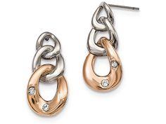 Chisel Stainless Steel Polished W/rose Ip Loop Crystal Dangle Post Earrings
