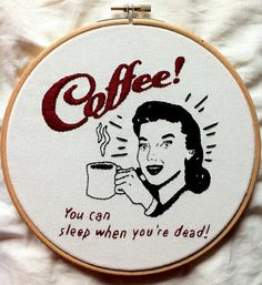 Vintage sign hand embroidery coffee lovers  by Gluckhandmade