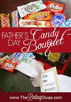 Surprise your man this Father's Day with a candy bouquet of his favorite treats!  Free printable included.. www.TheDatingDivas.com #fathersday #candybouquet #giftidea