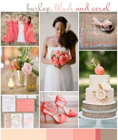 Burlap, Blush & Coral: Wedding Inspiration | Colour Ideas