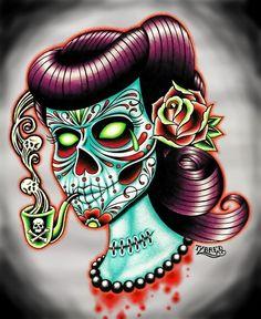rockabilly sugar skull chick. love. love.