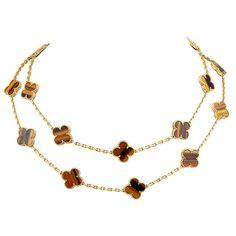 VAN CLEEF & ARPELS  ALHAMBRA Tigers Eye  Necklace | 1stdibs.com