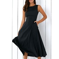 Casual Round Neck Sleeveless Loose Fitting Midi Dress For Women - BLACK S