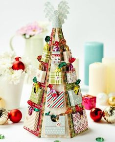 an advent calendar to make with your own hands, a multicolored paper Christmas tree and mini boxes to buy sweets, gourmet advent calendar idea Diy Christmas Kitchen, Christmas Crafts For Gifts, Christmas Countdown, Christmas Diy, Christmas Cards, Christmas Decorations, Holiday Decor, Kitchen Decorations, Advent Calenders