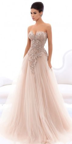 Sophisticated Tulle Sweetheart Neckline A-line Prom Dress With Beaded Lace Appliques