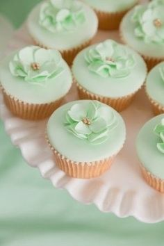 Delicate Vanilla Cupcakes with Mint Green Decorations