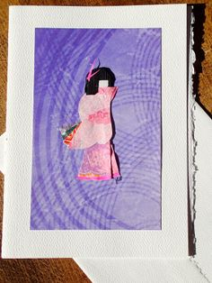 Japanese Doll Card  pink on purple 5x7 by ChiyogamiCrafts on Etsy, $6.00