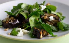 Spinach Salad with Grilled Eggplant and Feta