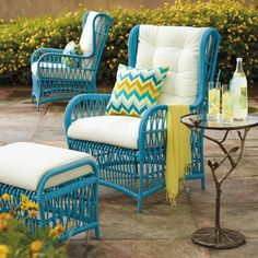 Hayden Wing Chair and Ottoman with Cushions traditional outdoor pillows  for sun room