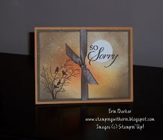 """By Erin Barker. Image stamp from Stampin' Up set """"Serene Silhouettes."""" Background sponged, spritzed with Champagne Mist shimmer paint (mixed with rubbing alcohol)."""