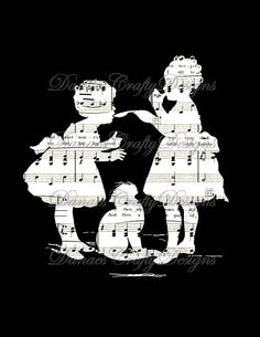 Vintage Children Reverse Silhouette on music background, or try it on book or dictionary pages..