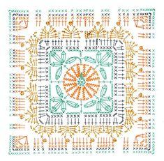 Transcendent Crochet a Solid Granny Square Ideas. Inconceivable Crochet a Solid Granny Square Ideas. Crochet Squares, Point Granny Au Crochet, Crochet Motifs, Crochet Blocks, Granny Square Crochet Pattern, Crochet Diagram, Crochet Stitches Patterns, Crochet Chart, Crochet Bedspread Pattern