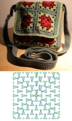 Crochet Square Patterns, Crochet Cardigan Pattern, Bag Patterns To Sew, Crochet Squares, Crochet Granny, Crochet Motif, Diy Crochet, Crochet Flowers, Crochet Stitches