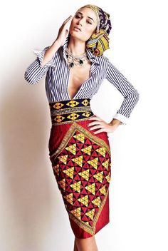 Head wrap, pinstripe shirt, tribal pencil skirt:  Afro Fashion