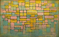 "Piet Mondrian, Dutch, 1872-1944 Title Tableau no. 2 _ Composition no. V Work Type Painting Date 1914 Material Oil on canvas Measurements 21 5_8 x 33 5_8"" (54.8 x 85.3 cm)"