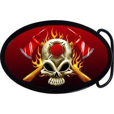 Firefighter Fireman Skull Belt Buckle