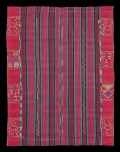 NW531 - Superb example of Nupe women's weaving from Niger state, Central Nigeria, with exceptionally finely woven extra weft float patterning on a green, black and red striped ground. Note also the subtle use of stripes in the weft, almost concealed by the warp threads adding further visual interest. Condition is excellent. Dates from circa 1950-60s.