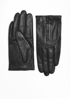 & Other Stories Zipped Leather Gloves