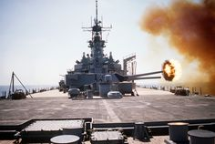 One of the Mark 7 guns in turret No. 3 aboard the battleship USS WISCONSIN is fired during a gunnery exercise. The WISCONSIN is deployed in the gulf in support of Operation Desert Shield. Operation Desert Shield, Us Battleships, Heavy Cruiser, Us Navy Ships, History Online, Naval History, Military Photos, Military News, Submarines