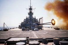 Practicing for imminent war: Battleship USS Wisconsin firing its 406 mm guns during operation Desert Shield (November 1990)