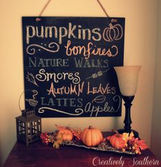 Chalkboard Lettering Tips - creatively southern sign for fall Chalkboard Lettering, Chalkboard Ideas, Fall Chalkboard Art, Chalkboard Sayings, Up Halloween, Halloween Supplies, Christmas Chalkboard, Thanksgiving Decorations, Thanksgiving Ideas