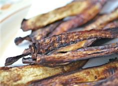 """These Eggplant """"Bacon"""" strips would work really well on a pizza or other savory dish. #vegan #glutenfree #sugarfree #recipe"""