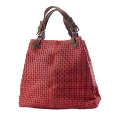 Italian Made, Genuine Leather Sholderbag / Handbag - Tess Red Sky