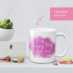 Nothing gives more joy than a cup of coffee or tea. Do thing for yourself yourself with this positive quote self care coffee mug!   ---------  ♥ 11 ounce Ceramic ♥ Image is on both sides ♥ Glossy White ceramic coffee mug ♥ Dishwasher & Microwave safe ♥ Anti-scratch print ♥ Fade resistan