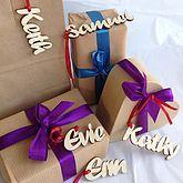 Natural Wooden Name Gift Tags - christmas